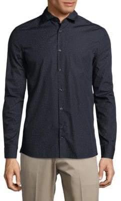J. Lindeberg Geometric-Print Cotton Button-Down Shirt