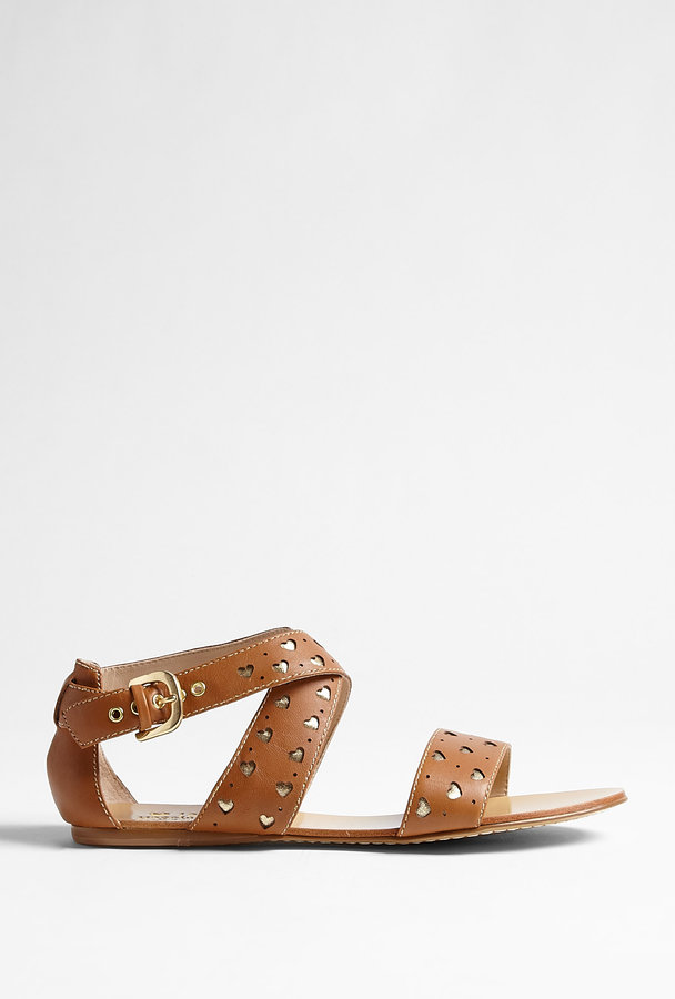 Love Moschino Tan Leather Flat Sandal
