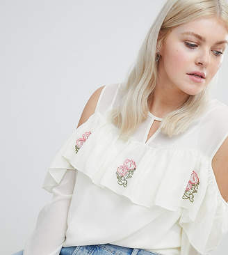 Koko Cold Shoulder Ruffle Top With Embroidery