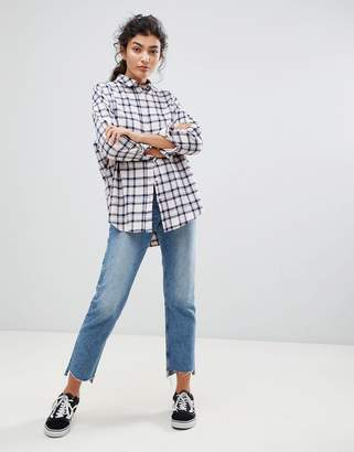 Asos DESIGN Oversized Boyfriend Shirt in Blush Check