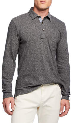 Faherty Men's Luxe Heathered Slub Long-Sleeve Polo Shirt