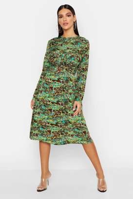 boohoo Green Snake Print Twist Midi Dress