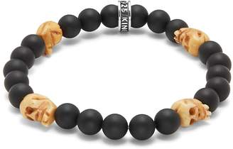 King Baby Studio Men's Bone & 8MM Beaded Onyx Skull Charm Bracelet
