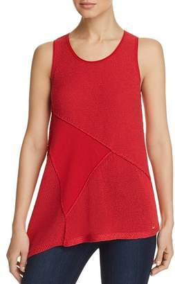 DKNY Mixed-Media Patchwork Sweater Tank