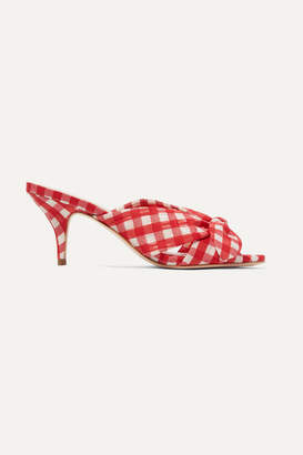 Loeffler Randall Luisa Bow-embellished Gingham Canvas Mules - Red