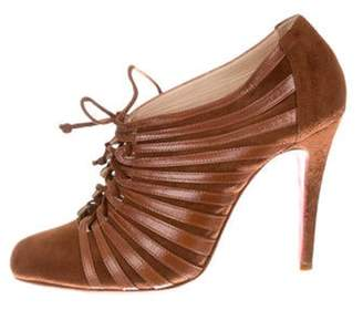 Christian Louboutin Round-Toe Lace-Up Booties Brown Round-Toe Lace-Up Booties