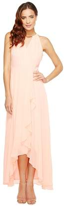 Sangria Solid Hardware Detail Keyhole Slim Evening Maxi Women's Dress