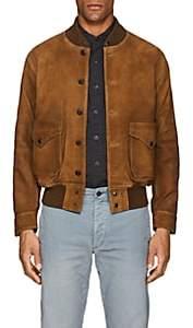 Rrl Men's Suede Bomber Jacket-Beige, Tan Size S