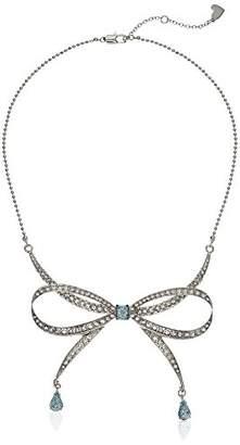 Betsey Johnson Women's Blue La La Pave Bow Frontal Necklace