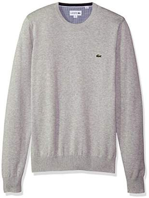 Lacoste Men's Crewneck Cotton Jersey Sweater with Green Croc