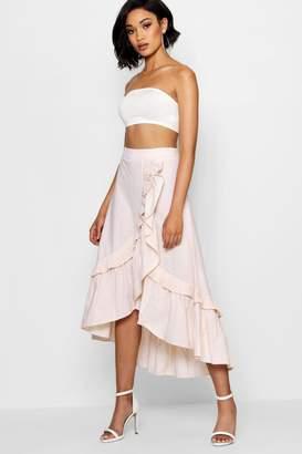 boohoo Molly Woven Tiered Frill Stripe Maxi Skirt