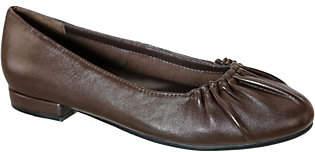 David Tate Leather Pleated Ballerina Flats - Santo