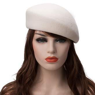 da52c9f4922e9 Wension Beret Cap Solid Unisex 100% Wool Felt Tilt Winter Beret Dome Bare  Feminino Hat