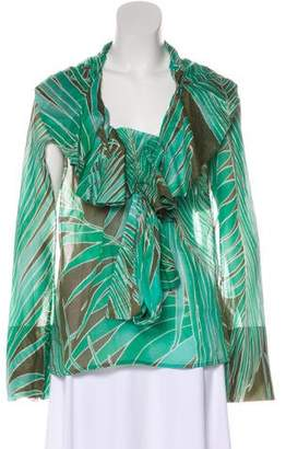 Gucci Ruffle-Trimmed Printed Blouse