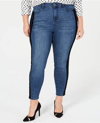 Celebrity Pink Trendy Plus Size Varsity-Stripe Skinny Jeans, Created for Macy's