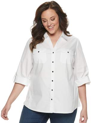 Croft & Barrow Plus Size Solid Roll-Tab Shirt