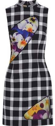Christopher Kane Floral-Print Tulle-Paneled Checked Wool-Blend Mini Dress