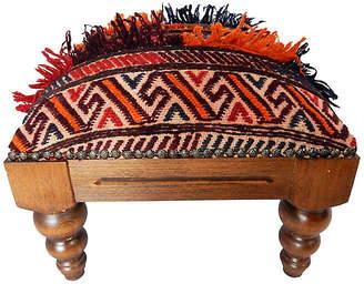 One Kings Lane Vintage Antique Tribal Afghan Rug Footstool