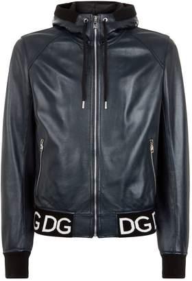 Dolce & Gabbana Hooded Leather Bomber Jacket