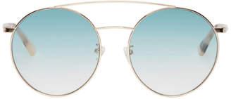 McQ Gold and Blue Gravity Bar Sunglasses