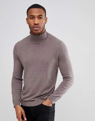 Asos DESIGN Cotton Roll Neck Sweater In Brown