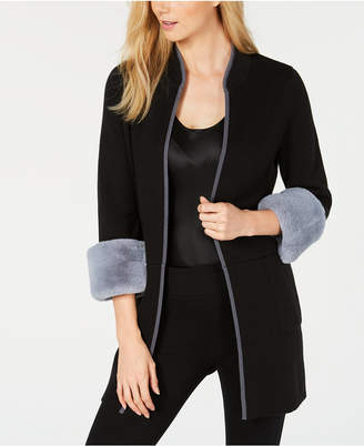 Alfani Faux-Fur-Cuff Cardigan, Created for Macy's