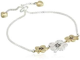 Disney Women's Two-Tone Plated Crystal Lilo & Stitch Ohana Adjustable Pull Bracelet