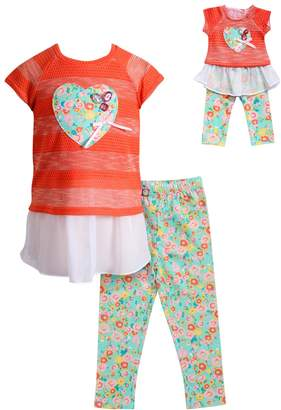 Dollie & Me Girls 4-14 Mock-Layer Heart Top & Floral Leggings Set
