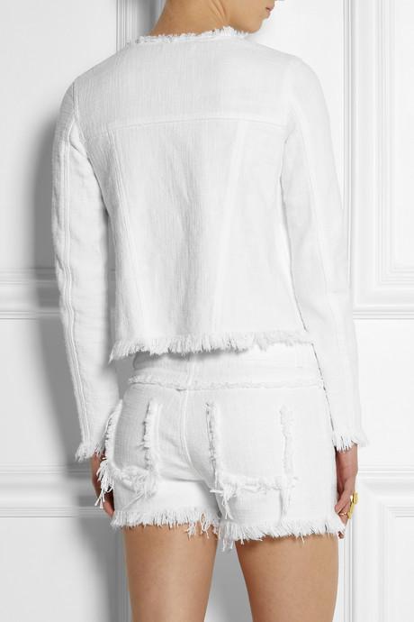 Alexander Wang Frayed cotton-burlap jacket