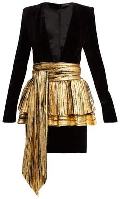 Alexandre Vauthier Pleated Overlay Mini Dress - Womens - Black Gold