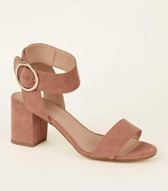 New Look Girls Pink Suedette Ring Buckle Sandals