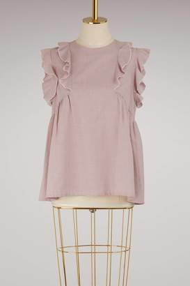 MAISON KITSUNÉ Claire top with ruffles