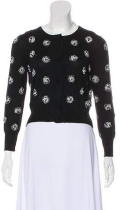 Oscar de la Renta Cashmere-Blend Long Sleeve Cardigan Black Cashmere-Blend Long Sleeve Cardigan