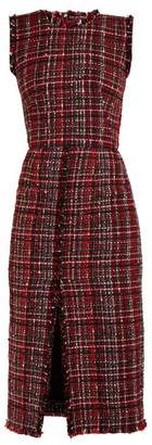 Alexander McQueen Tweed Pencil Dress - Womens - Red Multi