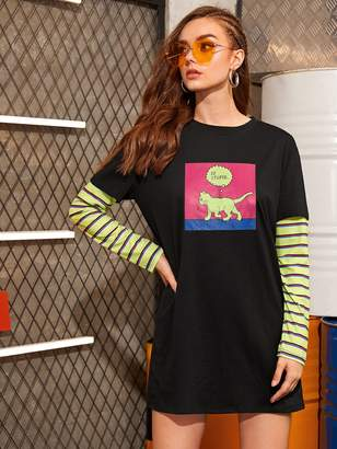 Shein Contrast Sleeve Cartoon Print Tee Dress
