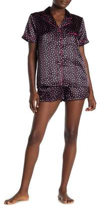 Jonquil In Bloom by Heart Print Short Sleeve Satin Top & Shorts Pajama 2-Piece Set