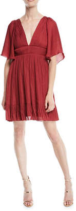Halston Flowy Mini Dress w/ Capelet & Pleating