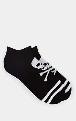 Corgi Men's Skull-Print Stretch-Cotton Ankle Socks - Black