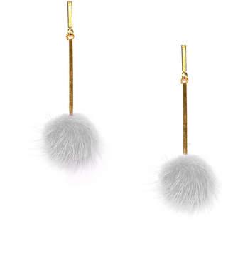 Tuleste White Mini Mink Pom Pom Earrings