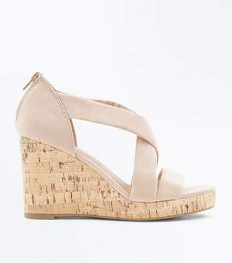 New Look Nude Suedette Cross Strap Cork Wedges