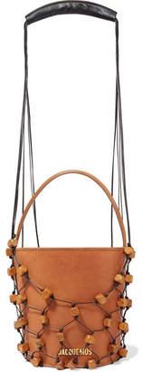 Jacquemus Maracasau Convertible Leather And Macramé Shoulder Bag - Camel