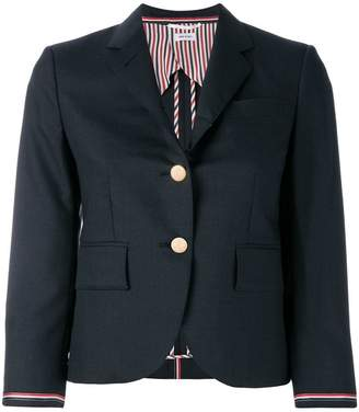 Thom Browne Single Breasted Sport Coat With Selvedge Stripe Insert In Super 100's Step Twill Wool