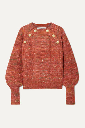 Veronica Beard Adelaida Button-embellished Cable-knit Sweater - Orange