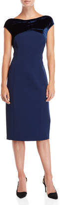 Lafayette 148 New York Blue Crossover Velvet Trim Dress