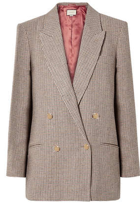 Gucci Houndstooth Checked Linen Blazer - Brown