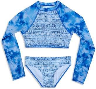 Gossip Girl Girls' Jean's Addiction Rash Guard Swimsuit Set