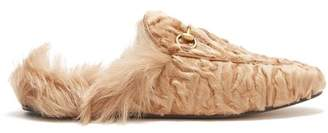 Gucci Princetown Shearling Lined Fur Loafers - Womens - Beige