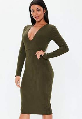 Missguided Khaki Plunge Ribbed Slinky Midi Dress