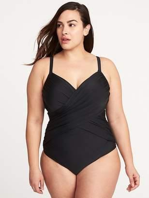 Old Navy Secret-Slim Plus-Size Wrap-Front Underwire Swimsuit