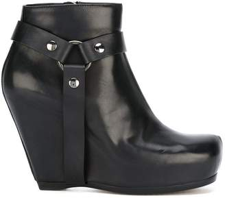 Rick Owens harness wedge ankle boots